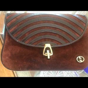Vintage Gucci brown suede amd leather shoulder bag